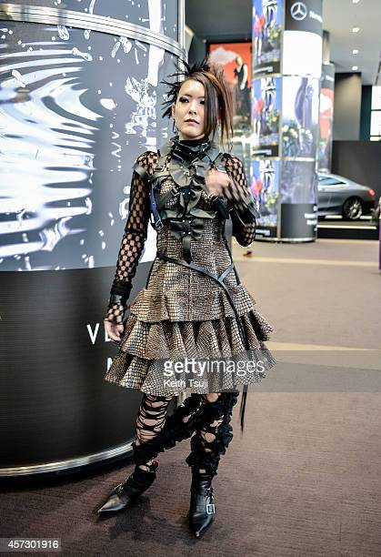 A guest is seen wearing whole outfit top pants and shoes by Alice Auaa during MercedesBenz Fashion Week Tokyo Spring/Summer 2015 at Shibuya Hikarie...