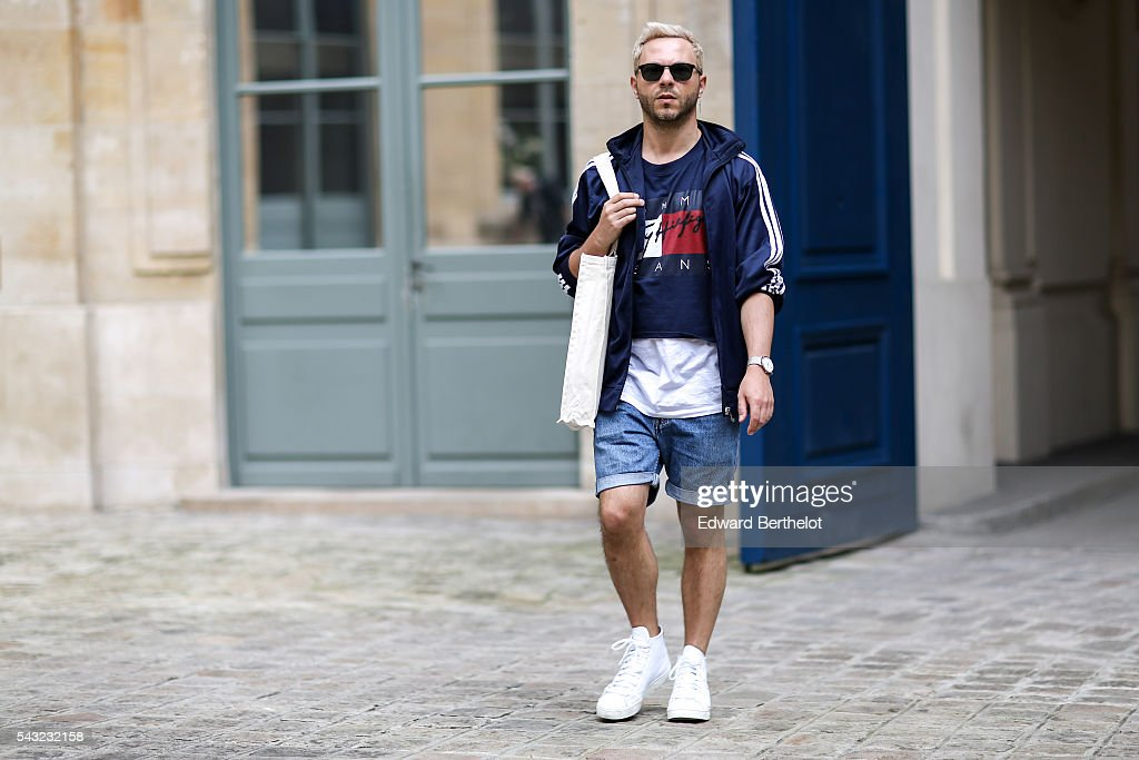 A guest is wearing a Tommy Hilfiger top, before the Sean Suen show, during Paris Fashion Week Menswear Spring/summer 2017, on June 26, 2016 in Paris, France.
