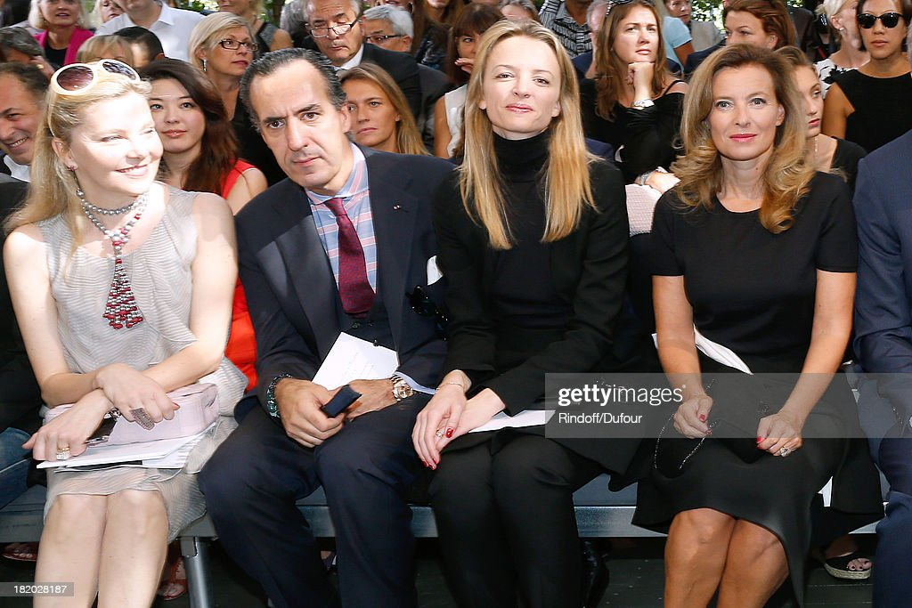 Guest, Jaime de Marichalar, <a gi-track='captionPersonalityLinkClicked' href=/galleries/search?phrase=Delphine+Arnault&family=editorial&specificpeople=577890 ng-click='$event.stopPropagation()'>Delphine Arnault</a> and <a gi-track='captionPersonalityLinkClicked' href=/galleries/search?phrase=Valerie+Trierweiler&family=editorial&specificpeople=8534231 ng-click='$event.stopPropagation()'>Valerie Trierweiler</a> attend the Christian Dior show as part of the Paris Fashion Week Womenswear Spring/Summer 2014, held at Musee Rodin on September 27, 2013 in Paris, France.