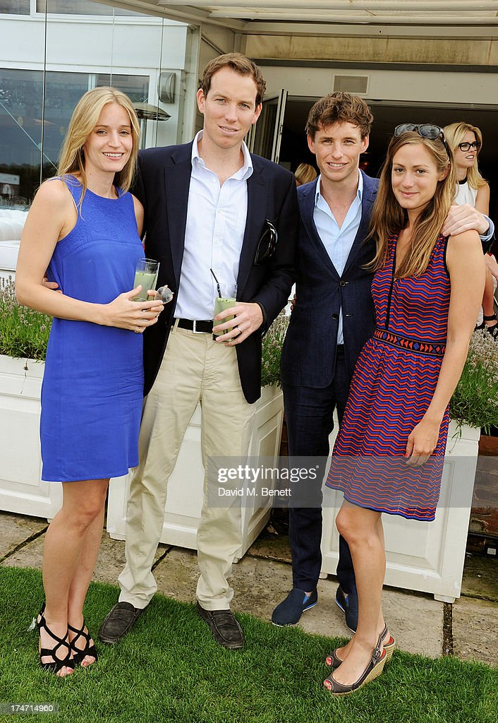 Guest, James Redmayne, Eddie Redmayne and Hannah Bagshawe attend the Audi International Polo at Guards Polo Club on July 28, 2013 in Egham, England.