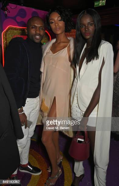 Guest Jourdan Dunn and Duckie Thot attend the LOVE magazine x Miu Miu party held during London Fashion Week at Loulou's on September 18 2017 in...