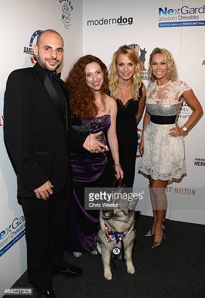 Guest Kristina ChurchDiciccio Chara Guide Dog Category Winner sports reporter Michelle Beadle and professional dancer Kym Johnson pose backstage at...