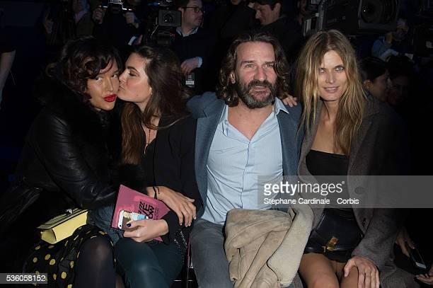Guest Lara Micheli Frederic Beigbeder and Malgosia Bela attend the ETAM show as part of the Paris Fashion Week Womenswear Fall/Winter 2015/2016 on...