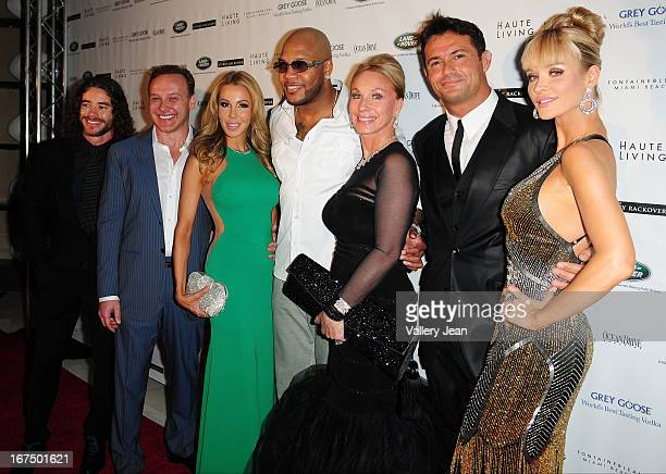 Guest Lenny Hochstein Lisa Hochstein Flo Rida Lea Black Romain Zago and Joanna Krupa attend The Blacks' Annual Gala 2013 at Fontainebleau Miami Beach...