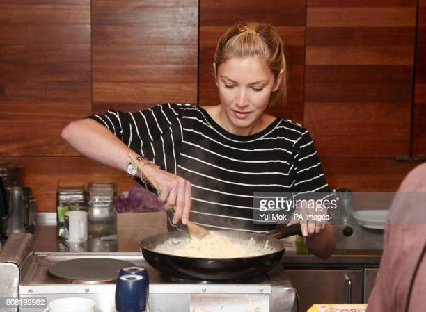 Guest Lisa Faulkner the winner of Celebrity MasterChef cooks a breakfast of scrambled eggs and Bloody Marys at Absolute Radio in Soho central London