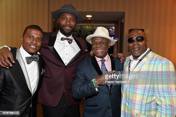 A guest Mario Urrutia Michael Colyar and guest attend Unbridled Eve Gala during the 142nd Kentucky Derby on May 6 2016 in Louisville Kentucky