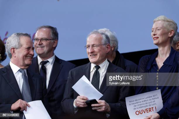 Guest Michael Mann Tilda Swinton attends the opening ceremony of 9th Film Festival Lumiere In Lyon on October 14 2017 in Lyon France