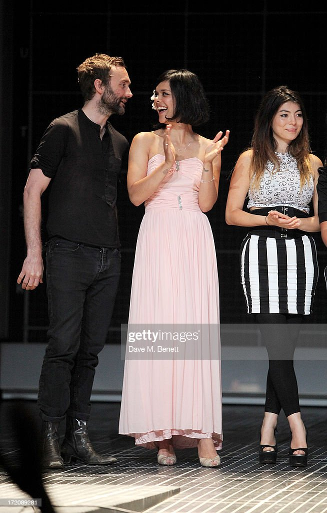 Guest, Natasha Khan of Bat For Lashes and Alyusha Chagrin of the Boxettes bow on stage at 'A Curious Night at the Theatre', a charity gala evening to raise funds for Ambitious about Autism and The National Autistic Society, at The Apollo Theatre on July 1, 2013 in London, England.