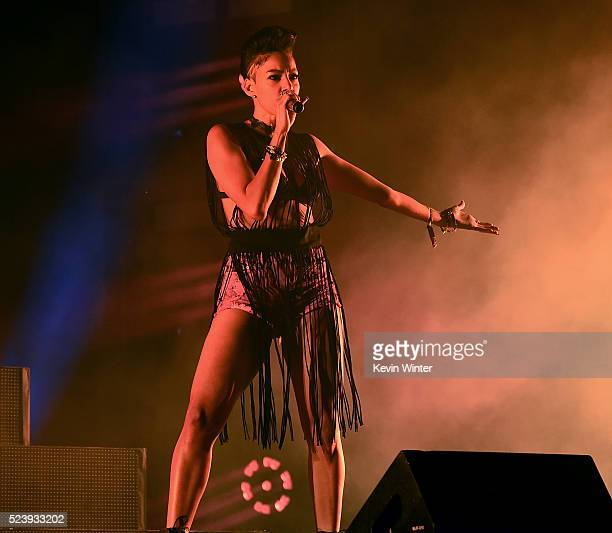 Guest Nyla Thorbourne performs onstage with Major Lazer during day 3 of the 2016 Coachella Valley Music Arts Festival Weekend 2 at the Empire Polo...