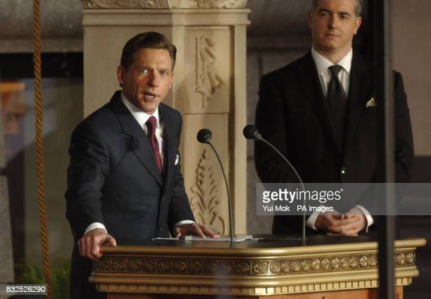 Guest of Honour David Miscavige Chairman of the Board of the Religious Technology Centre and leader of the Scientology religion addressing the crowd...