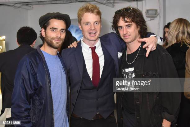 guest Oli Goss and Johnny Lloyd attend a private view of artist Chemical X's new exhibition 'CX300' at The Vinyl Factory on September 28 2017 in...