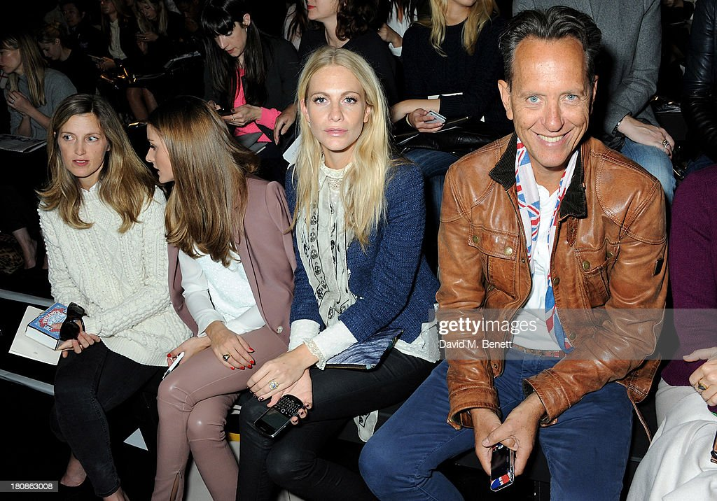 Guest, Olivia Palermo, Poppy Delevingne and Richard E. Grant sit in the front row at the Anya Hindmarch presentation during London Fashion Week SS14 at Central Hall Westminster on September 17, 2013 in London, England.