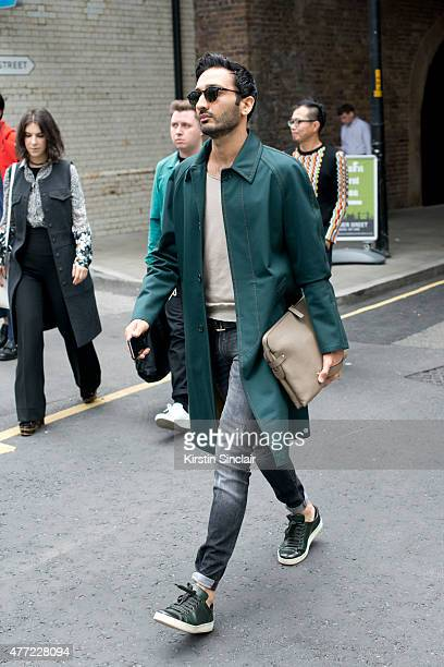 A guest on day 3 of London Collections Men on June 14 2015 in London England