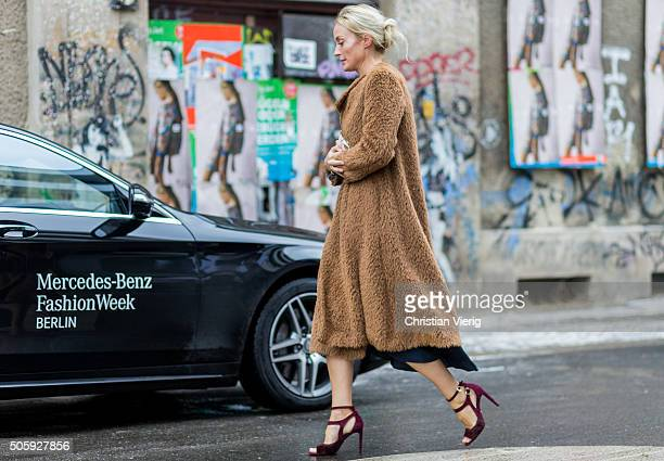 A guest outside Malaikaraiss during the MercedesBenz Fashion Week Berlin Autumn/Winter 2016 at Brandenburg Gate on January 20 2016 in Berlin Germany