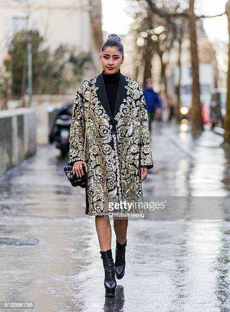 A guest outside Rochas during the Paris Fashion Week Womenswear Fall/Winter 2016/2017 on March 2 2016 in Paris France