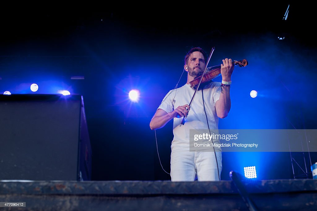 Guest Owen Pallett performing with Caribou on the main stage during day two of the Bestival music festival at Toronto Island on June 13 2015 in...