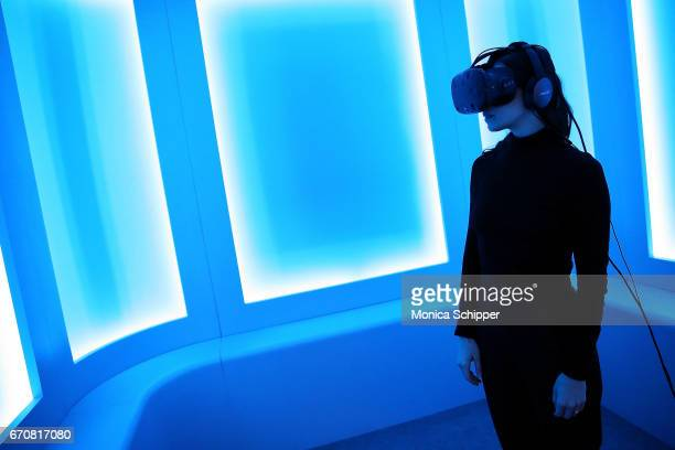 A guest participates in the VR/Immersive Press Preview during the 2017 Tribeca Film Festival at Spring Studios on April 20 2017 in New York City