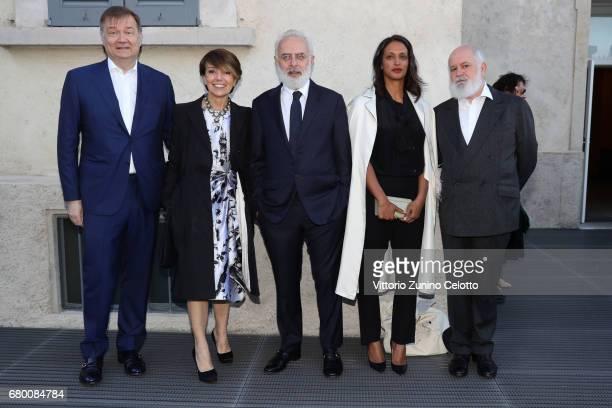 Guest Patrizia Sandretto Frsncesco Bonami Vanessa Riding and Massimo De Carlo attends a 'Private view of 'TV 70 Francesco Vezzoli Guarda La Rai' at...