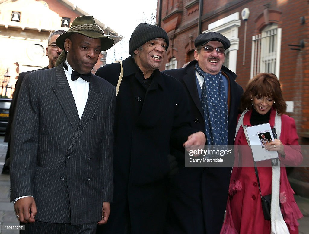 Guest, Paul Barber, John Challis and Sue Holderness attends the funeral of actor Roger Lloyd-Pack at St Paul's Church on February 13, 2014 in London, England.