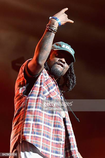 Guest performer recording artist Wale performs onstage with recording artist Usher during the 2016 BET Experience at Staples Center on June 24 2016...