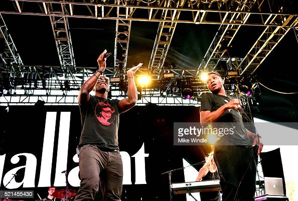 Guest performer Seal and recording artist Gallant perform onstage during day 1 of the 2016 Coachella Valley Music Arts Festival Weekend 1 at the...