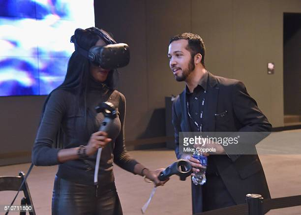 A guest plays Virtual Reality seen on Day 6 of New York Fashion Week The Shows on February 16 2016 in New York City