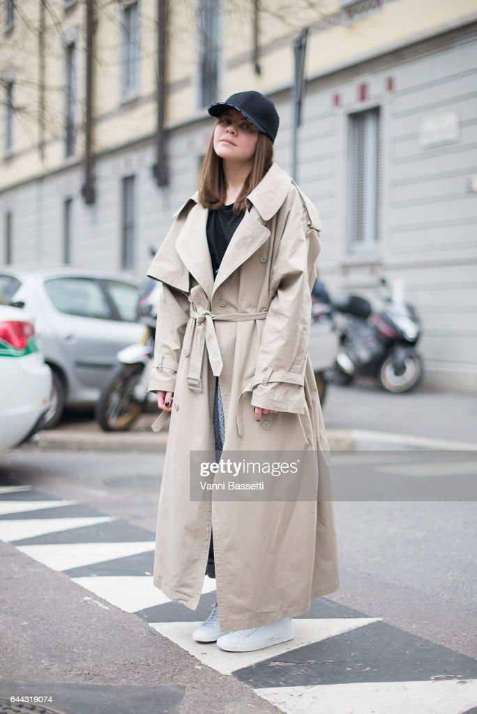 A guest poses after the Fendi show during Milan Fashion Week Fall/Winter 2017/18 on February 23, 2017 in Milan, Italy.