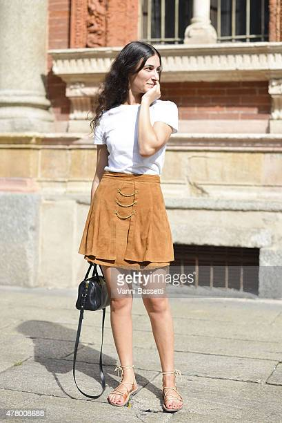 A guest poses after the Missoni show on June 21 2015 in Milan Italy