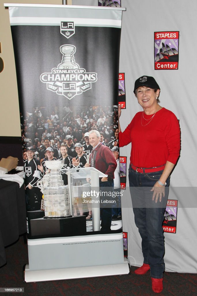 A guest poses at the LA Kings Chalk Talk & Game Experience at Staples Center on April 18, 2013 in Los Angeles, California.