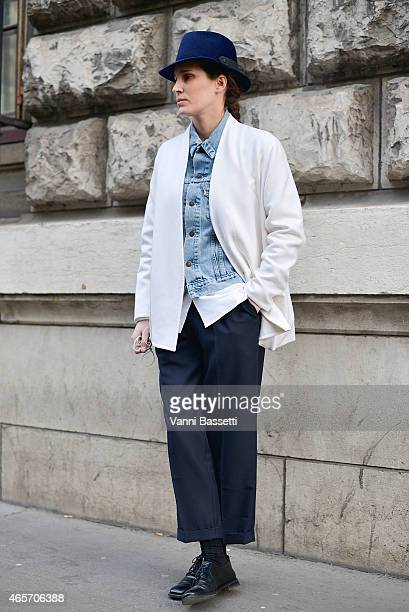 A guest poses before the Hermas show on Day 7 of Paris Fashion Week Womenswear FW15 on March 9 2015 in Paris France