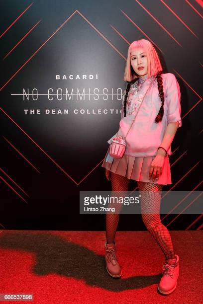 Guest poses for a picture during The Dean Collection X Bacardi No Commission event on April 9 2017 in Shanghai China