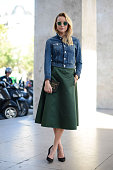 A guest poses wearing an Acne total look on September 27 2014 in Paris France