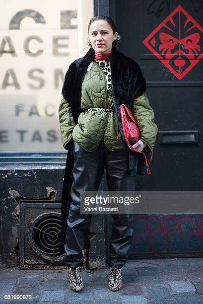 A guest poses wearing an OAMC jacket before the Facetasm show during Paris Fashion Week Menswear FW17/18 on January 18 2017 in Paris France