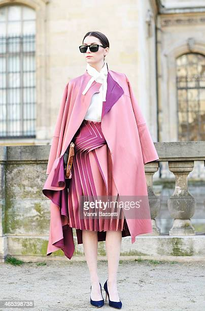 A guest poses wearing Audra on Day 4 of Paris Fashion Week Womenswear FW15 on March 6 2015 in Paris France
