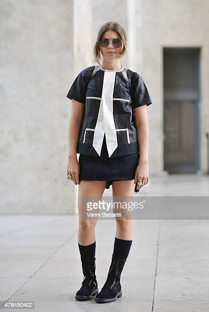 A guest poses wearing Rick Owens on June 25 2015 in Paris France