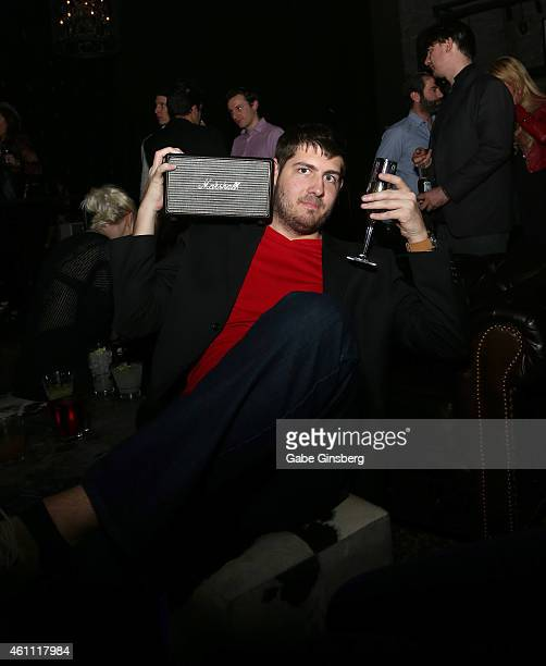 A guest poses with a Marshall Acton speaker during Marshall Headphones presents the Launch of Major II with performances by Tenacious D at The Sayers...
