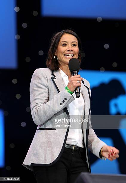 Guest presenter Melanie Sykes speaks on stage at the BBC Radio 2 Elvis Forever concert at Hyde Park on September 12 2010 in London England The...