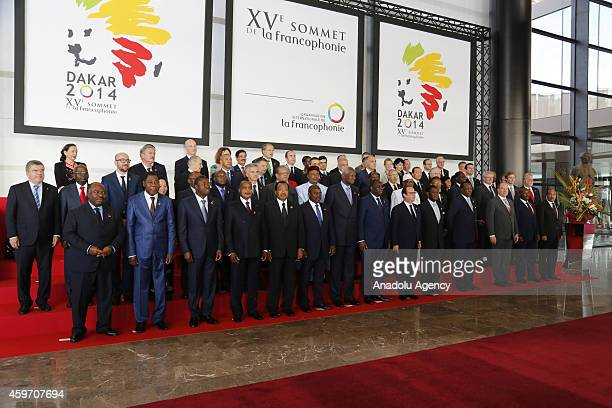 Guest Presidents pose for a photo during the 15th Francophonie summit which kicked off with the participation of 35 heads of state in Dakar Senegal...