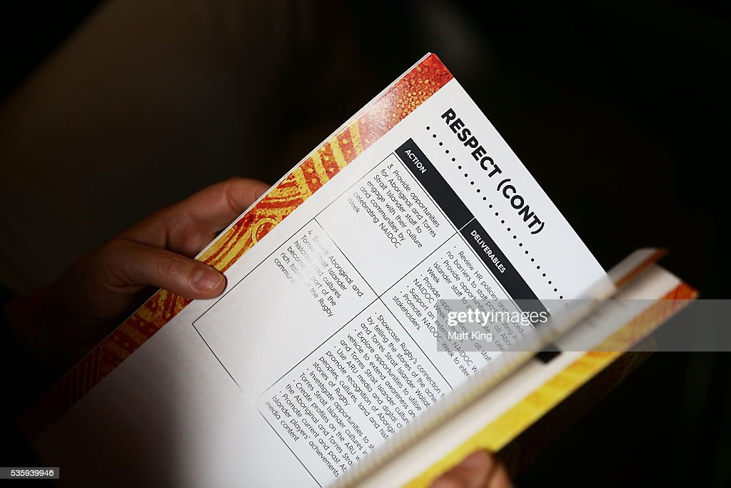 A guest reads the ARU Reconciliation Action Plan during the ARU Reconciliation Action Plan Launch at the National Centre for Indigenous Excellence on May 31, 2016 in Sydney, Australia.