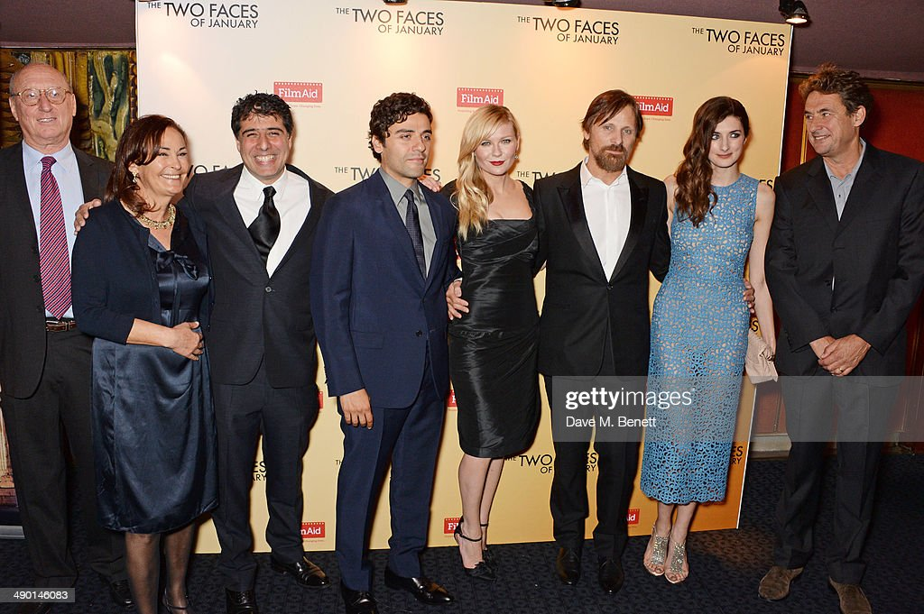 Guest Robyn Slovo Director Hossein Amini Oscar Isaac Kirsten Dunst Viggo Mortensen Daisy Bevan and Tim Bevan attend the UK Premiere of 'The Two Faces...