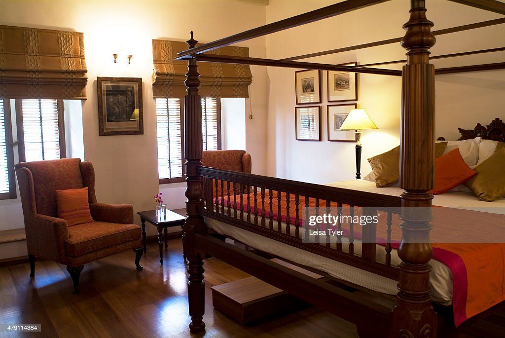 COCHIN COCHIN/ KOCHI KERALA INDIA A guest room at Le Colonial Hotel built in 1506 one of the first buildings constructed by the Portuguese in Cochin...
