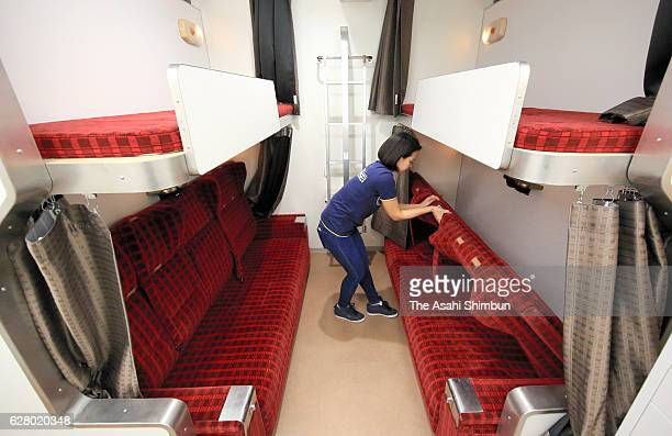 A guest room is equipped with bunk beds that were used in the Hokutosei's AClass cars at The Train Hostel Hokutosei on December 1 2016 in Tokyo Japan...