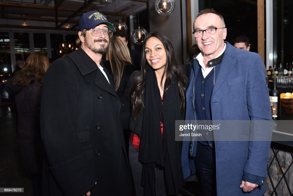 Guest, Rosario Dawson and Danny Boyle attend TriStar Pictures & The Cinema Society with 19 Crimes Host the After Party for 'T2 Trainspotting' at Mr. Purple at the Hotel Indigo LES on March 14, 2017 in New York City.