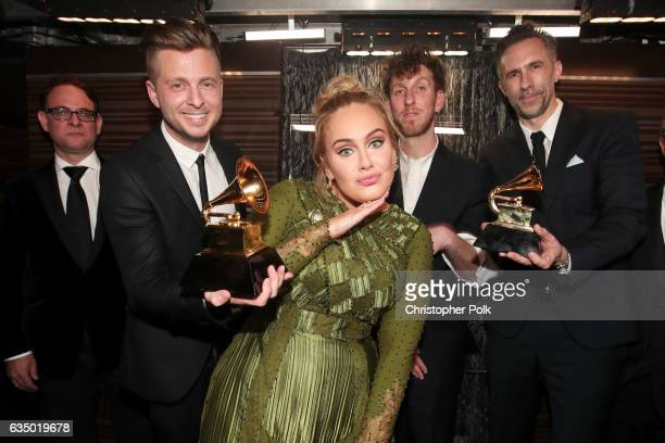Guest Ryan Tedder of OneRepublic Adele producer Ariel Rechtshaid and producer Samuel Dixon attend The 59th GRAMMY Awards at STAPLES Center on...