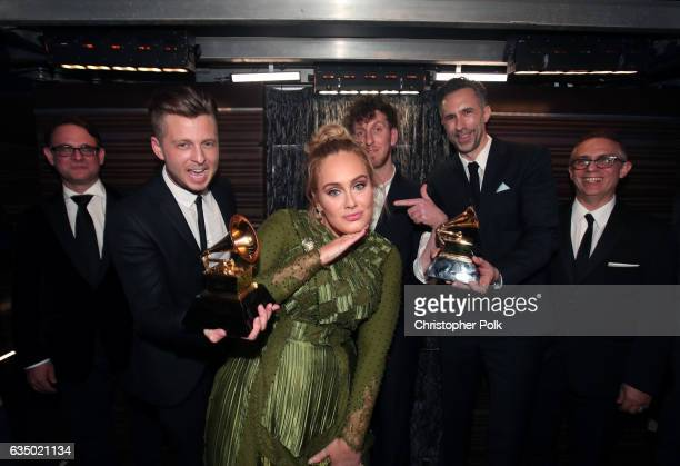 Guest Ryan Tedder of OneRepublic Adele producer Ariel Rechtshaid producer Samuel Dixon and Guest attend The 59th GRAMMY Awards at STAPLES Center on...