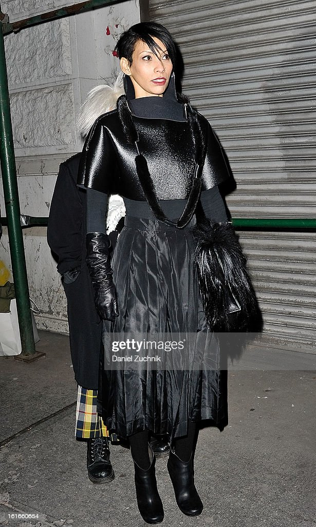 A guest seen arriving to the Proenza Schouler show on February 13, 2013 in New York City.