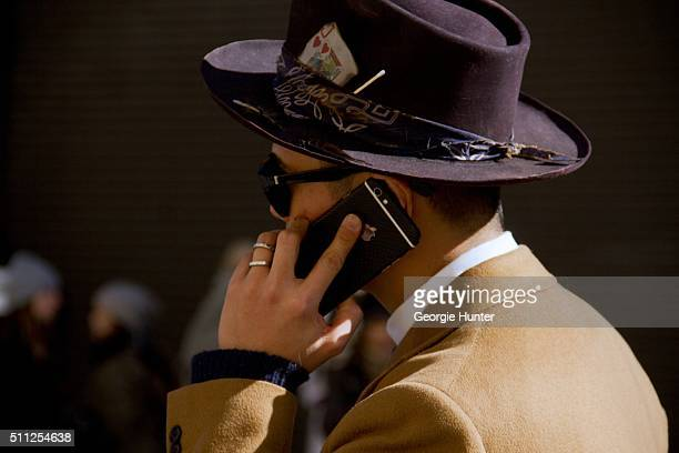 Guest seen at Skylight Clarkson Sq outside the Ralph Lauren show wearing wide brimmed hat during New York Fashion Week Women's Fall/Winter 2016 on...