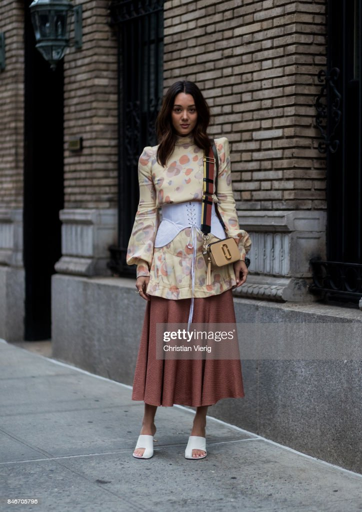 A guest seen in the streets of Manhattan outside Marc Jacobs during New York Fashion Week on September 13, 2017 in New York City.
