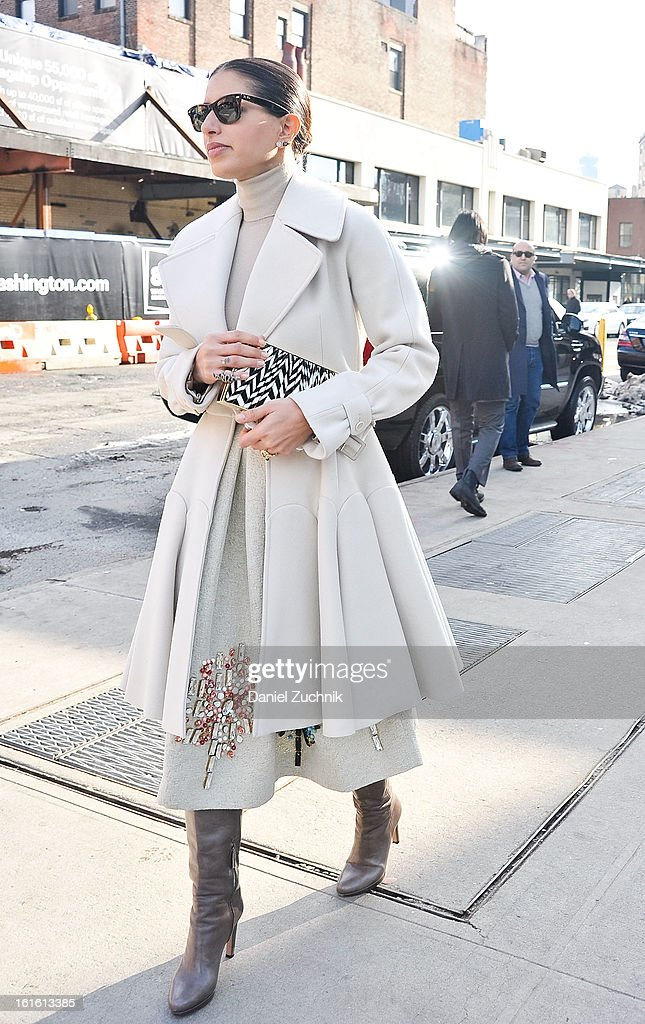 A guest seen outside the Nonoo show wearing on February 12, 2013 in New York City.