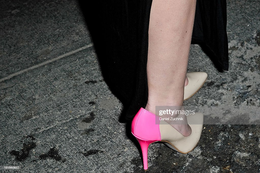 A guest seen outside the Proenza Schouler show wearing Proenza heels on February 13, 2013 in New York City.